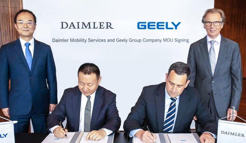 امضای توافق دایملر و جیلی