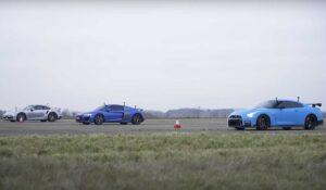 درگ ریس پورشه 911 توربو اس با آئودی R8 و نیسان GT-R