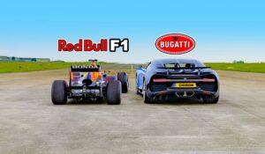 درگ ریس بوگاتی شیرون با خودروی فرمول 1