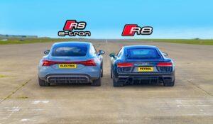 درگ ریس آئودی R8 با RS ای-ترون GT