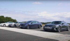 درگ مرسدس EQS با آئودی ای-ترون و تسلا مدل S و پورشه تایکان