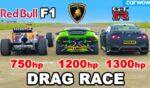 درگ ریس خودروی فرمول 1 ردبول با لامبورگینی هوراکان و نیسان GT-R