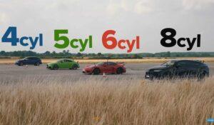 درگ لامبورگینی اوروس با پورشه کیمن GT4 و آئودی TT RS و فولکس واگن گلف R